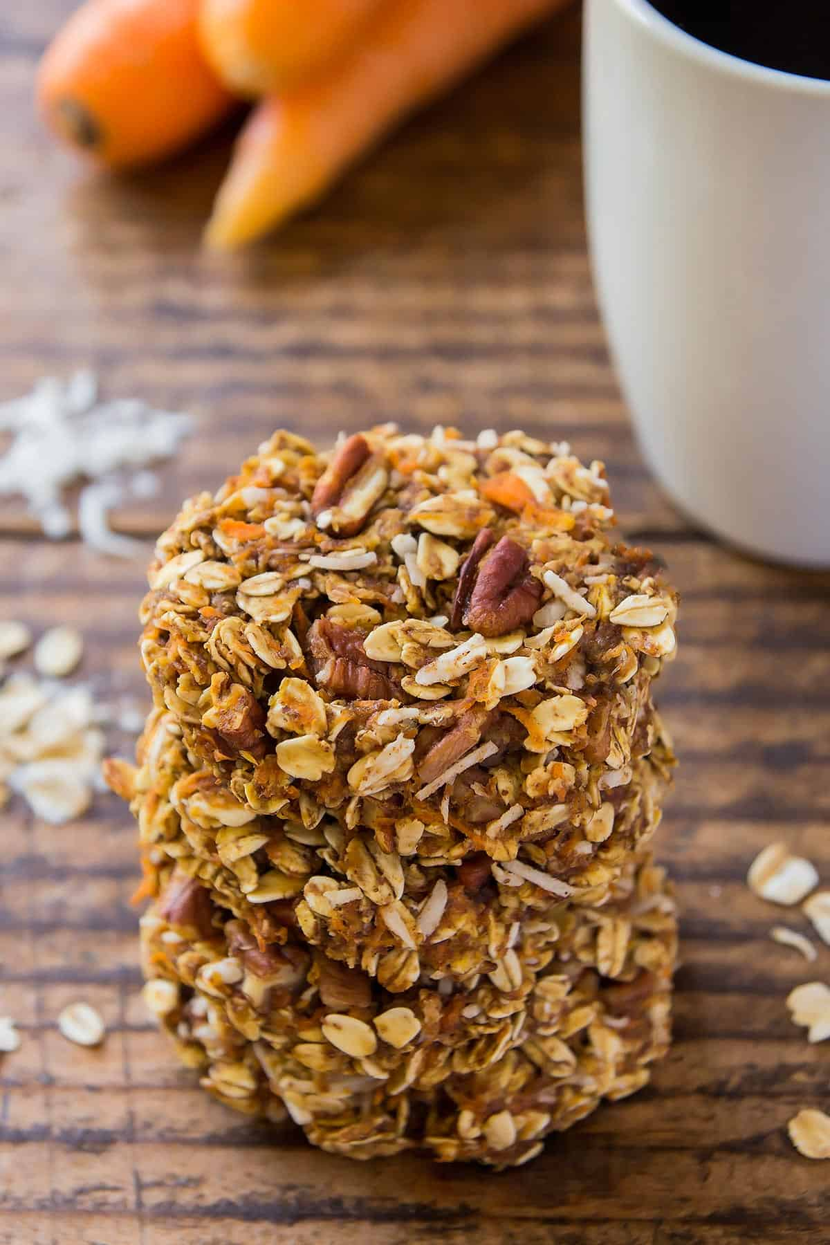 Carrot Oatmeal Cookies stacked