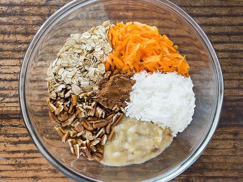 Carrot Cookie Recipe Ingredients arranged in a bowl