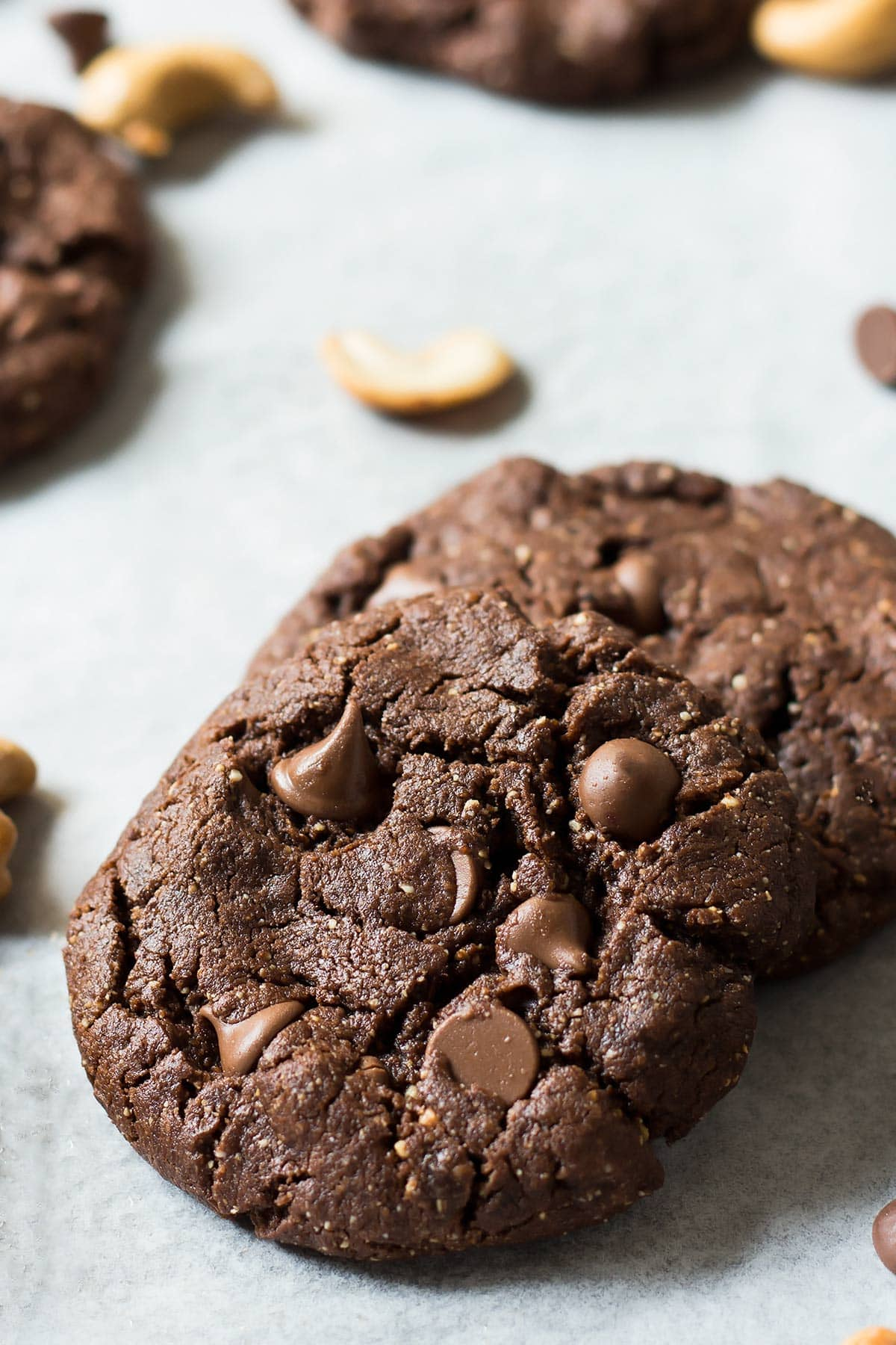 Stack of two flourless cookies