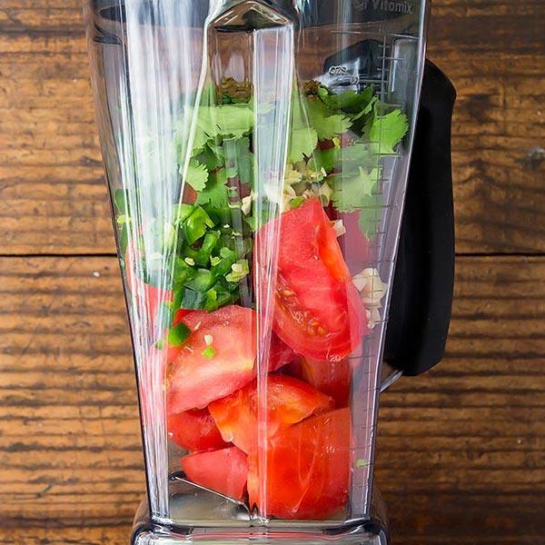 Blending Salsa Ingredients