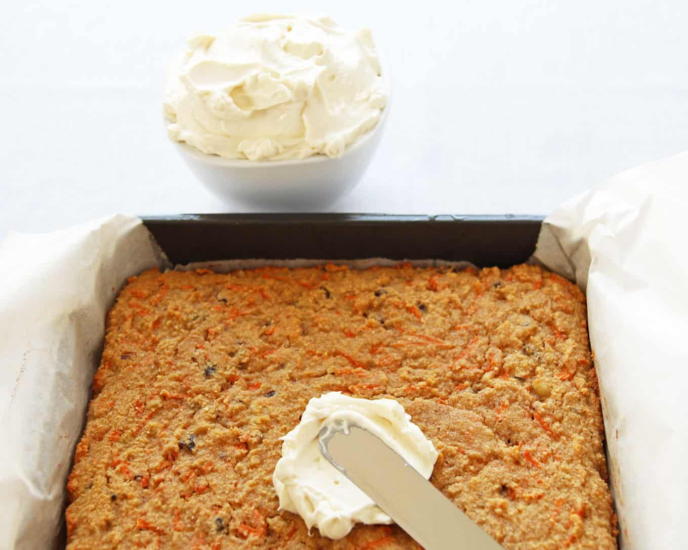 Healthy Frosting on Carrot Cake