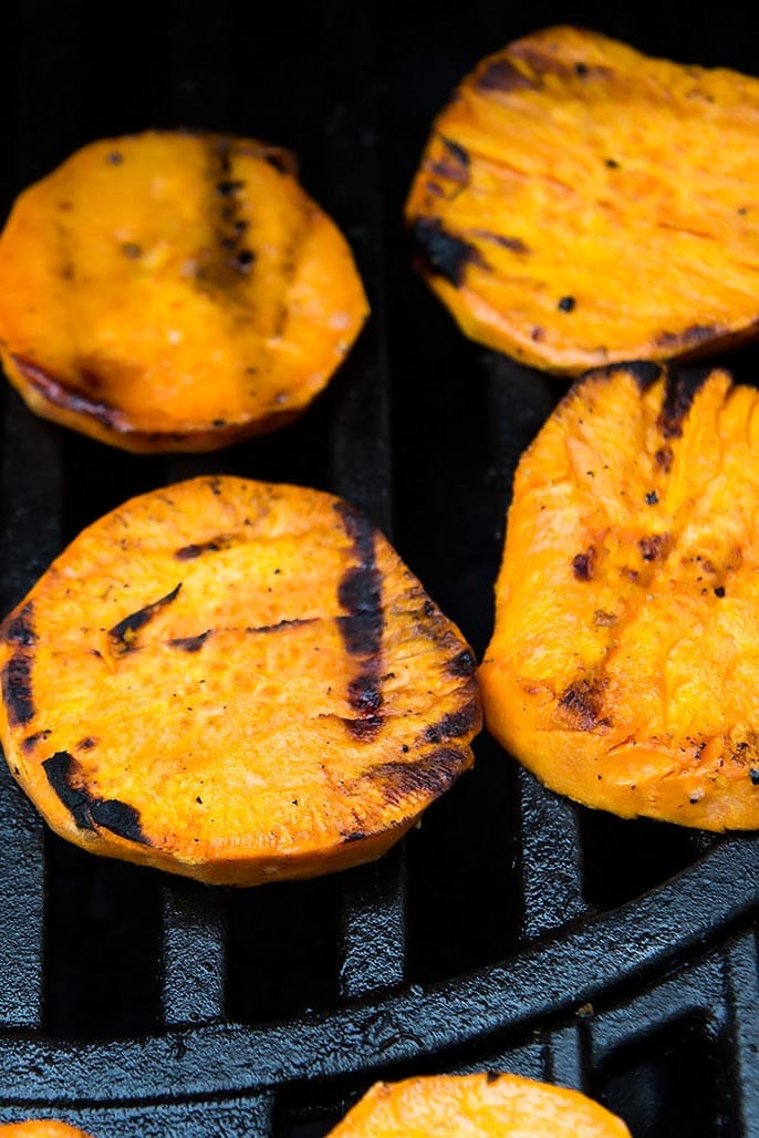 Sweet Potato Slices on grill