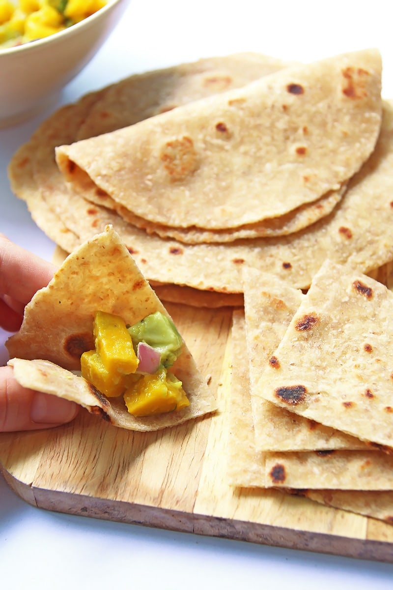 Whole wheat tortilla triangles with salsa