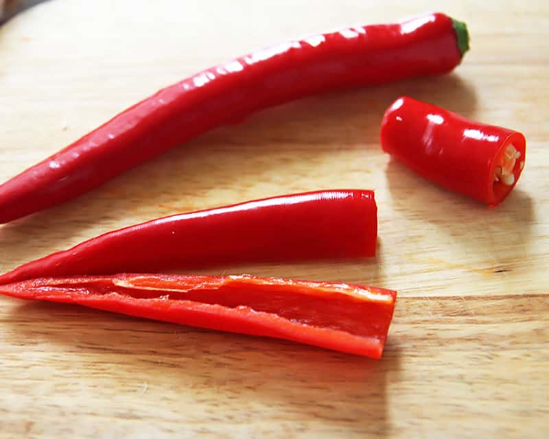Slicing Red Chili Peppers