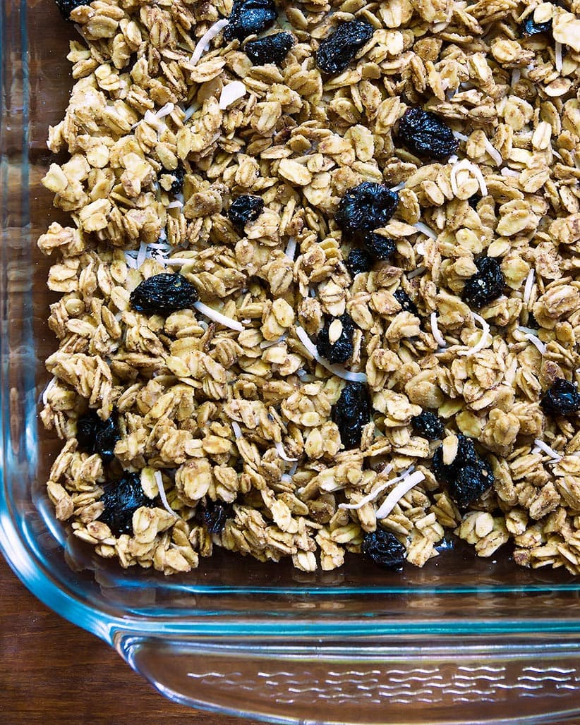 Baking dish with peanut butter granols