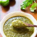 Tomatillo Salsa Verde in bowl with spoon