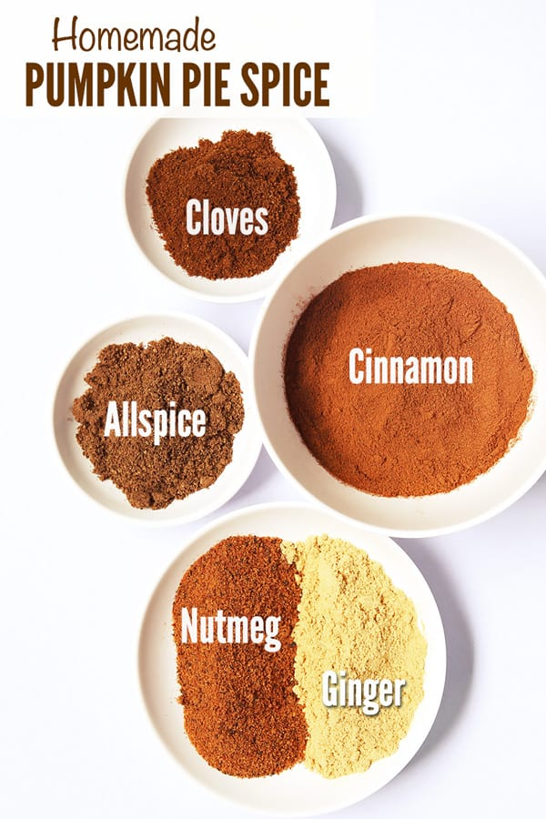 Homemade Pumpkin Spice Ingredients in individual plates