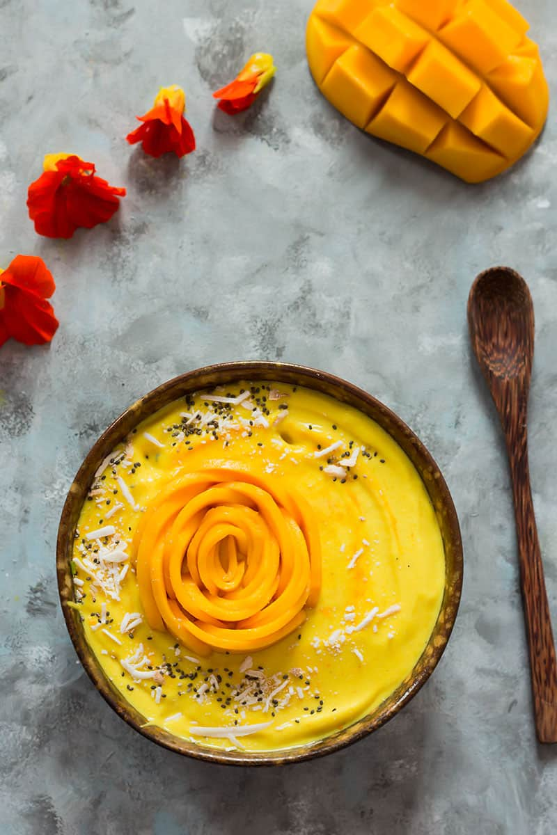 Overhead shot of Mango smoothie bowl