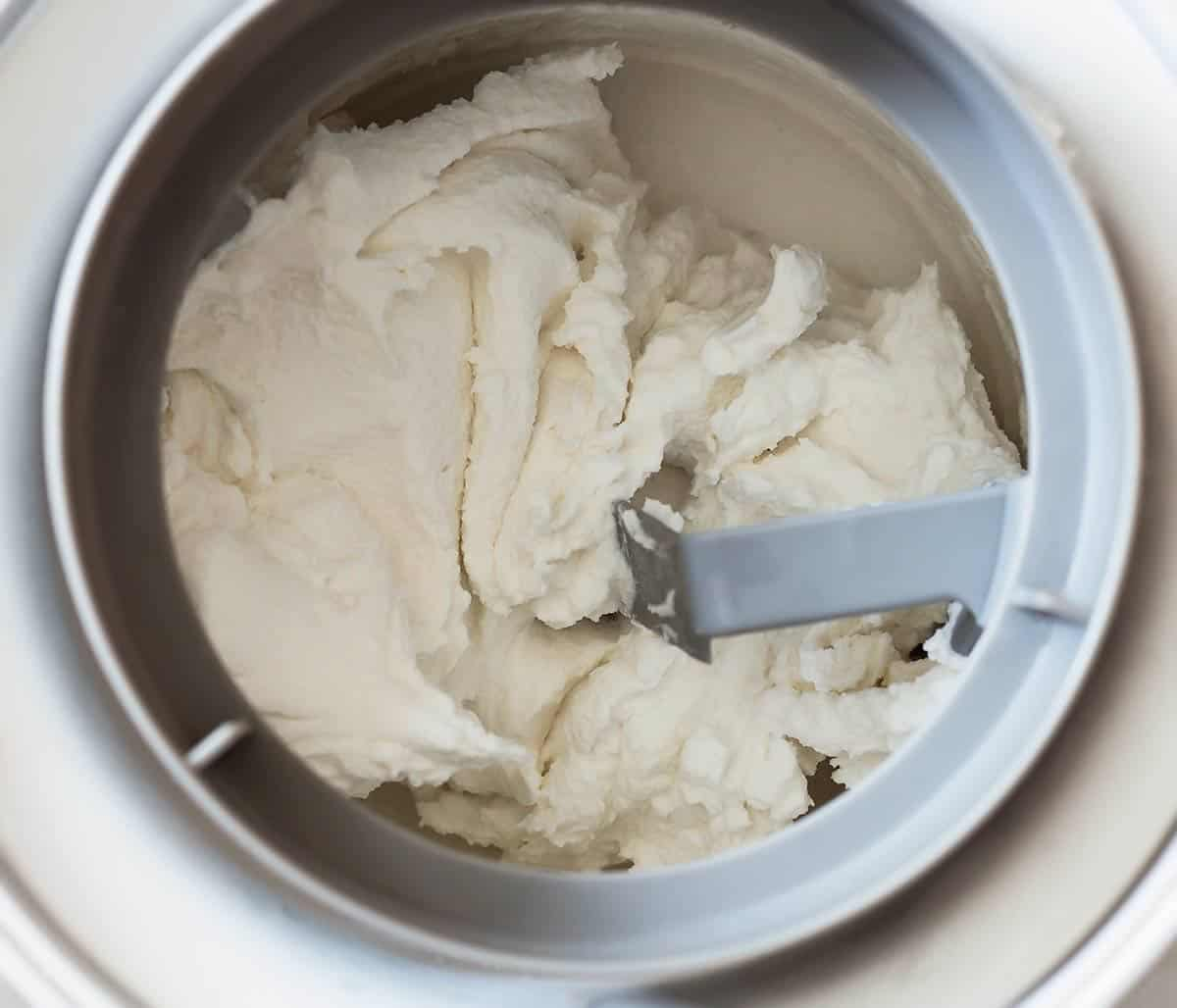 Coconut Ice Cream Base being churned in ice cream maker