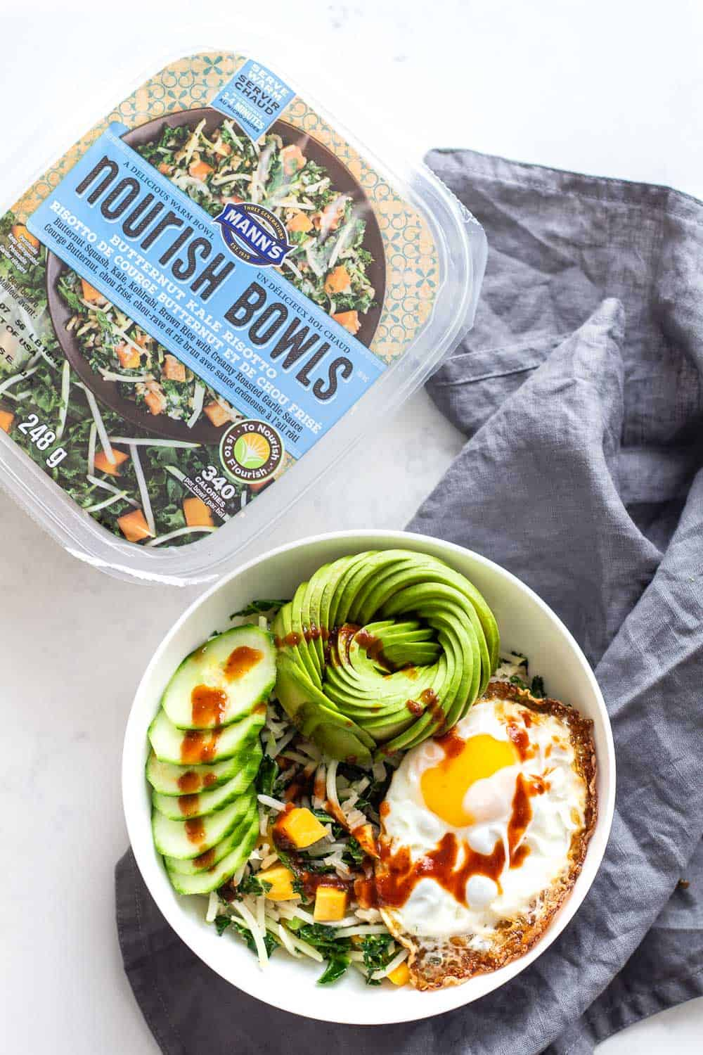 Breakfast Buddha Bowl with Sriracha Drizzle