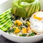 Breakfast Bowl with Avocado, Egg, Cucumber