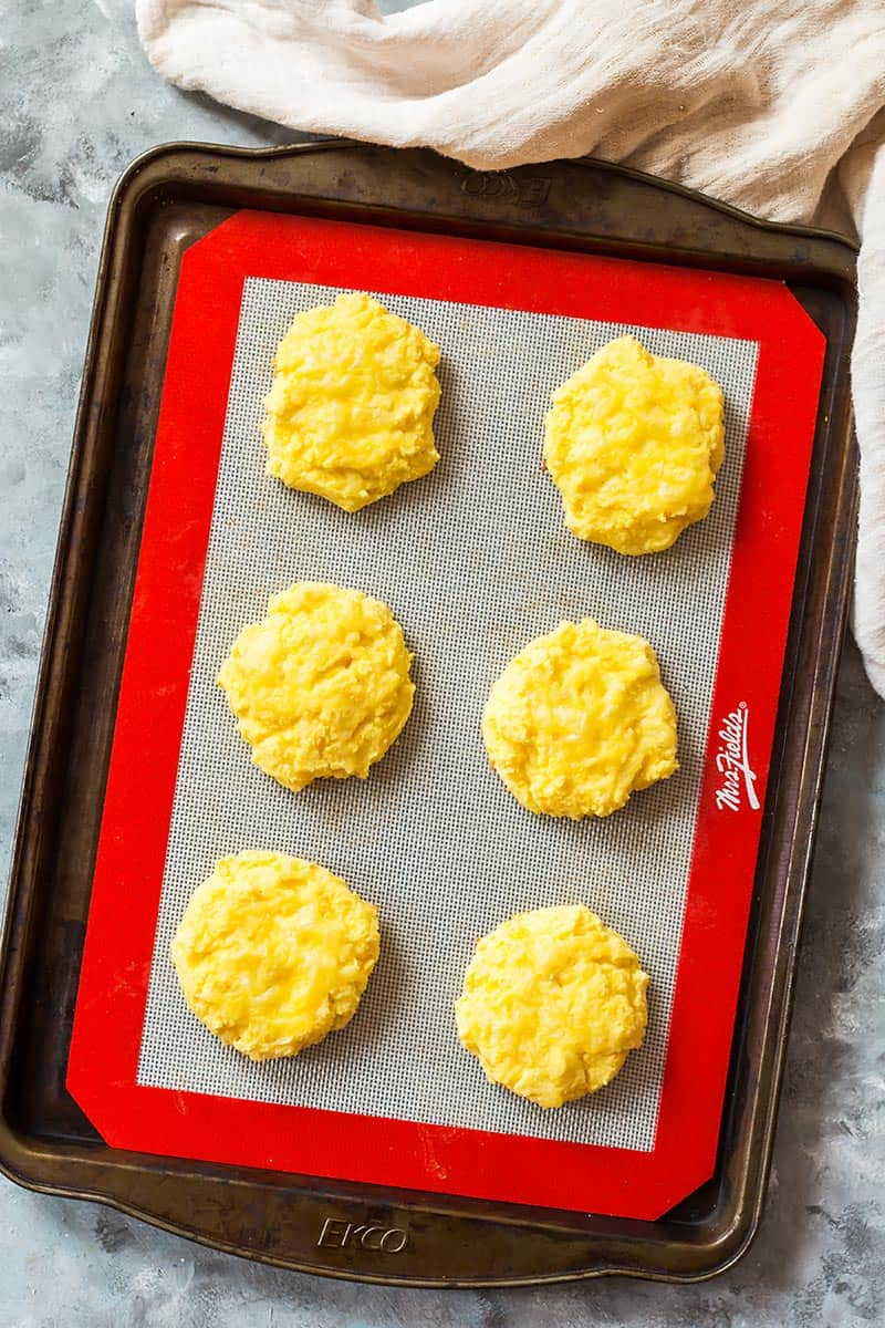 Low Carb Biscuits on Baking Sheet