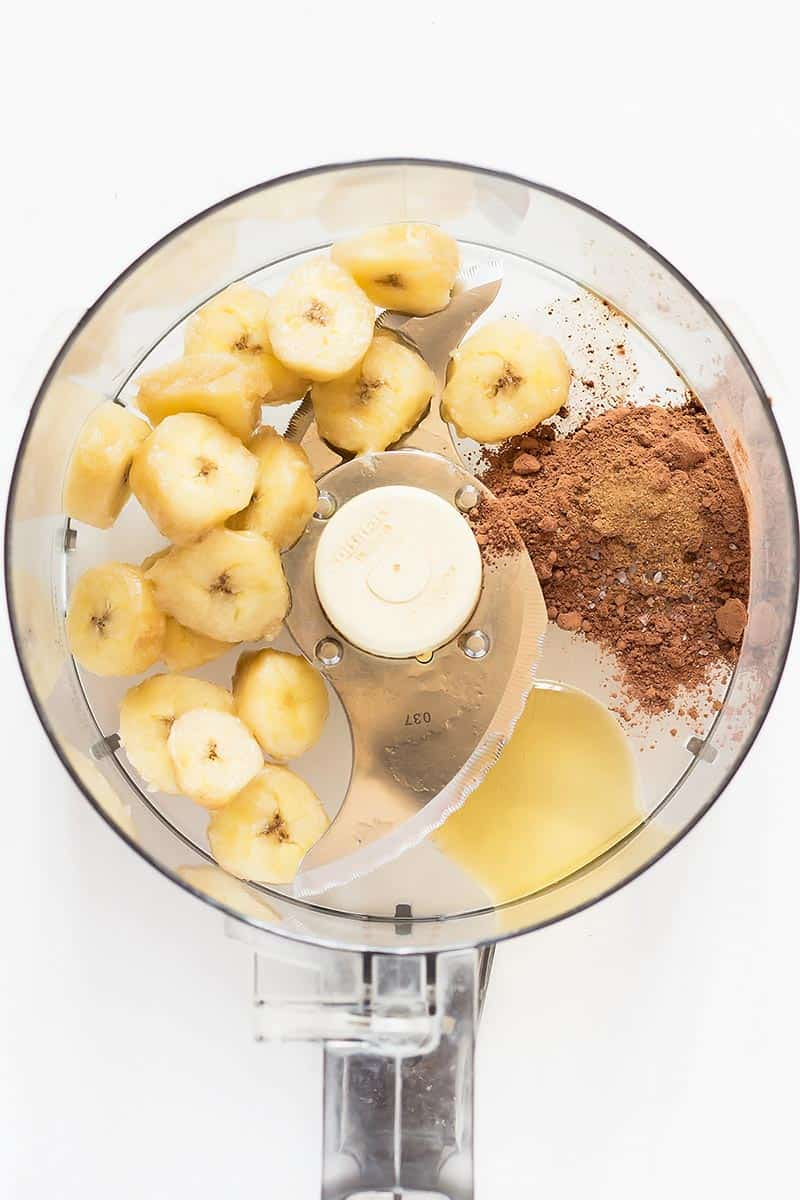 Banana slices, cocoa powder, maple syrup, salt, cinnamon in food processor