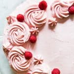 Overhead view of vanilla raspberry cake
