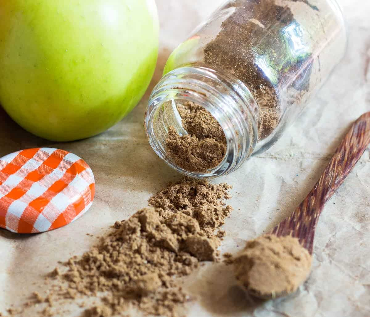 Tipped over apple spice jar