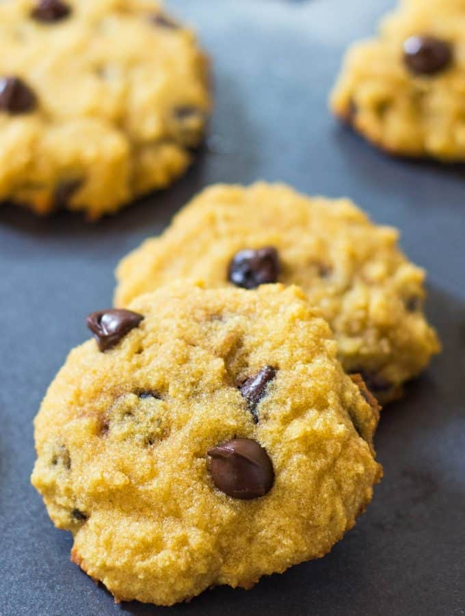 Coconut Chocolate Chip Cookies on a baking sheet