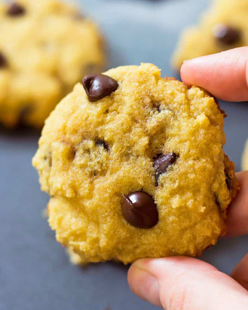 Hand holding up a coconut flour chocolate chip cookie