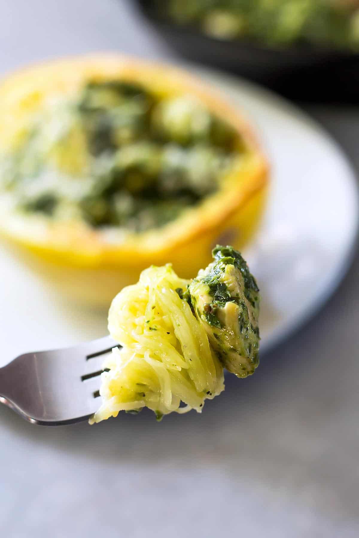 Chicken Pesto Spaghetti Squash on a fork