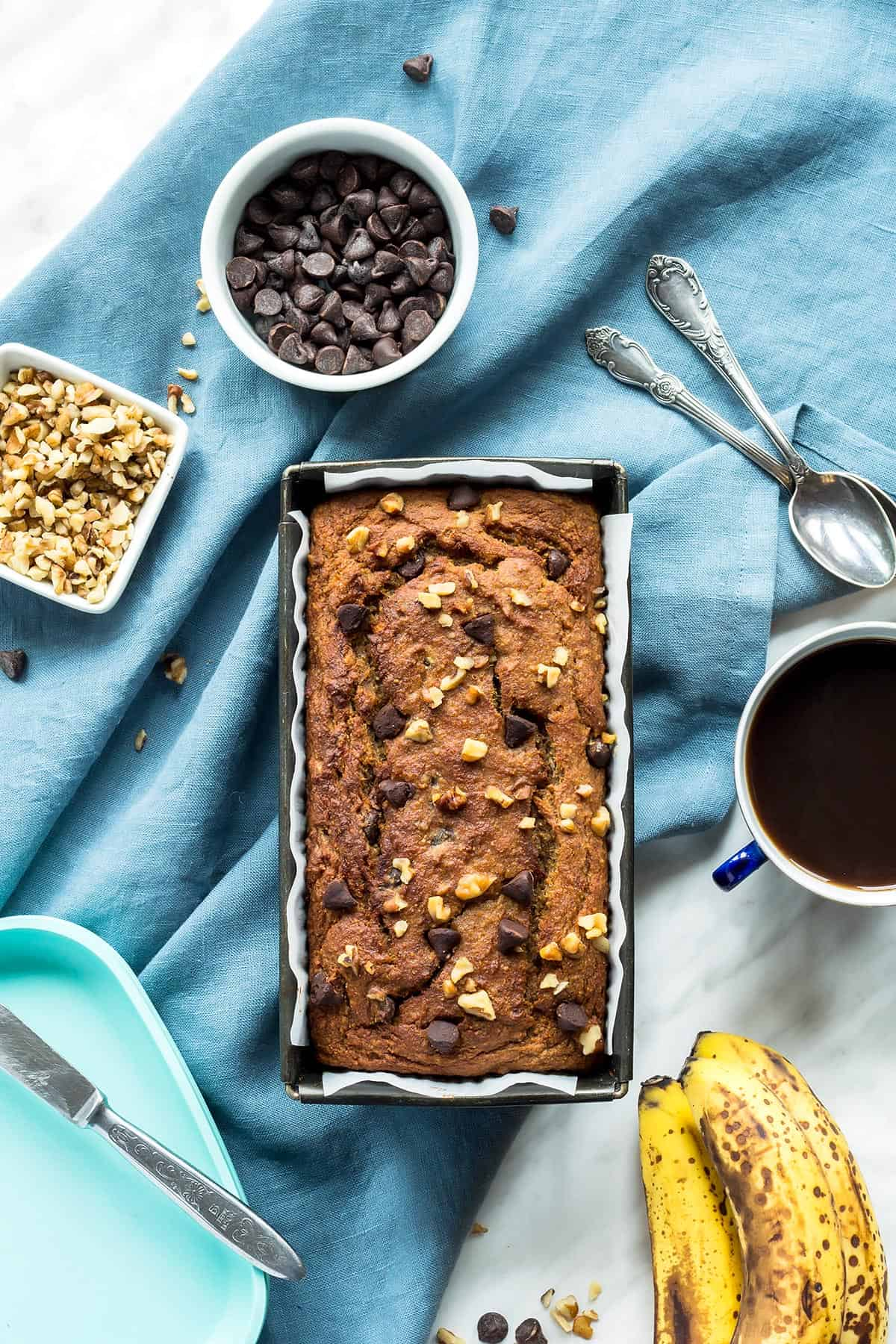 Overhead view of Coconut Flour Banana Bread in loaf pan