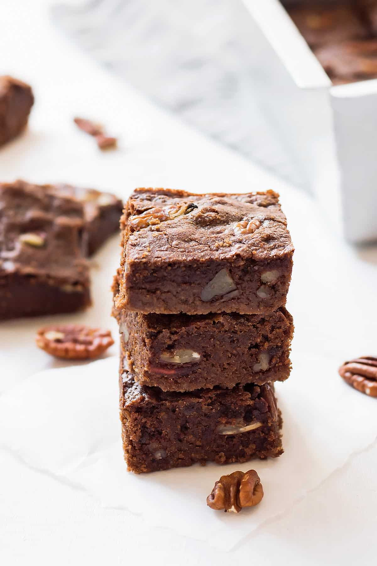 Stack of Three Keto Brownies