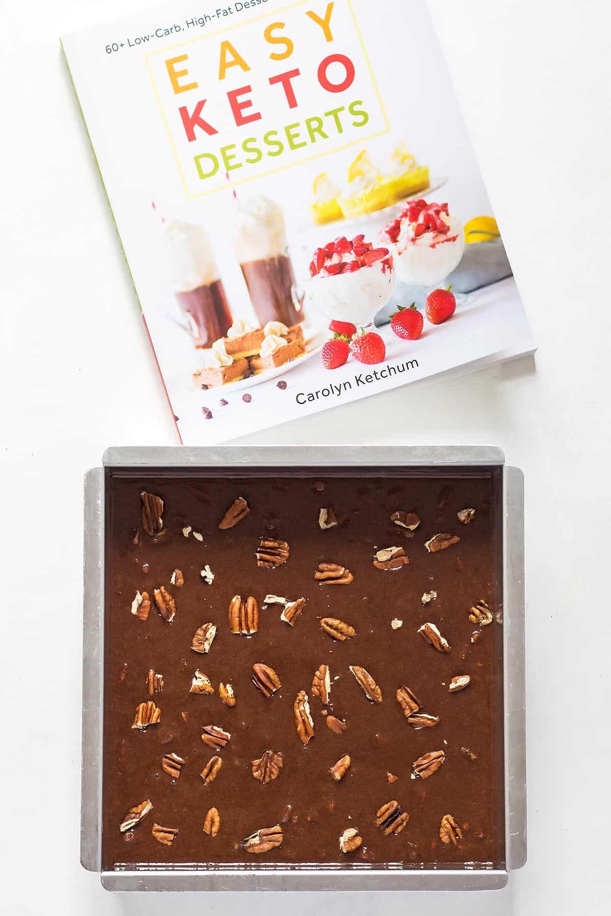 Low Carb Brownies Beside Cookbook