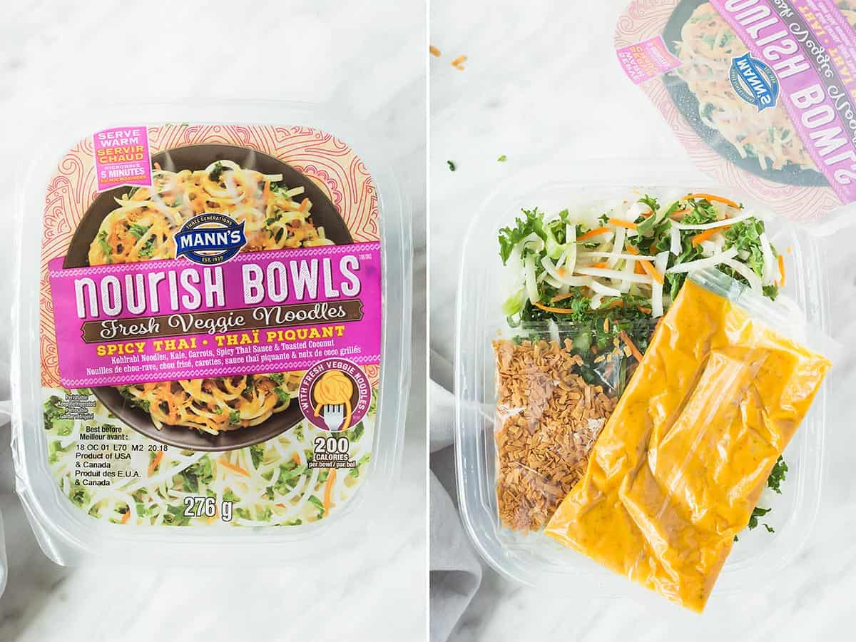 Closed and open Manns Spicy Thai Nourish Bowl