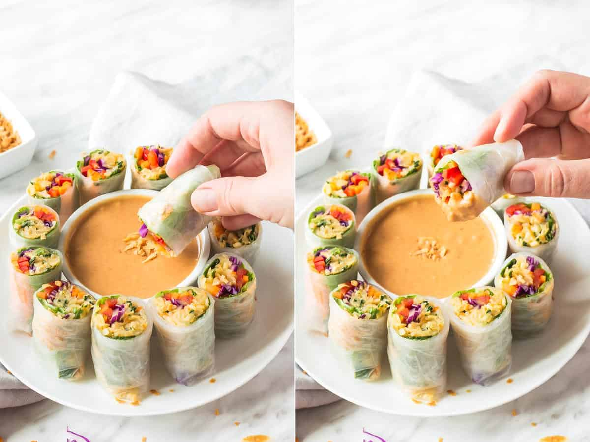Fresh Rice paper rolls being dipped in peanut sauce