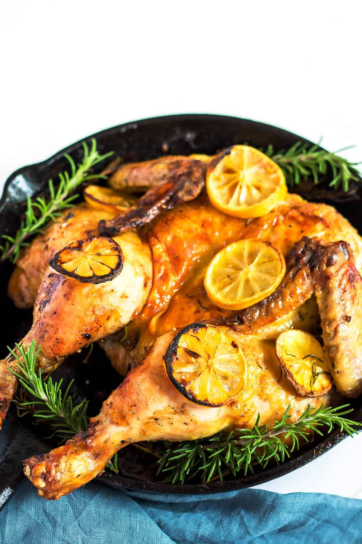 Roasted Spatchcock chicken in cast iron pan