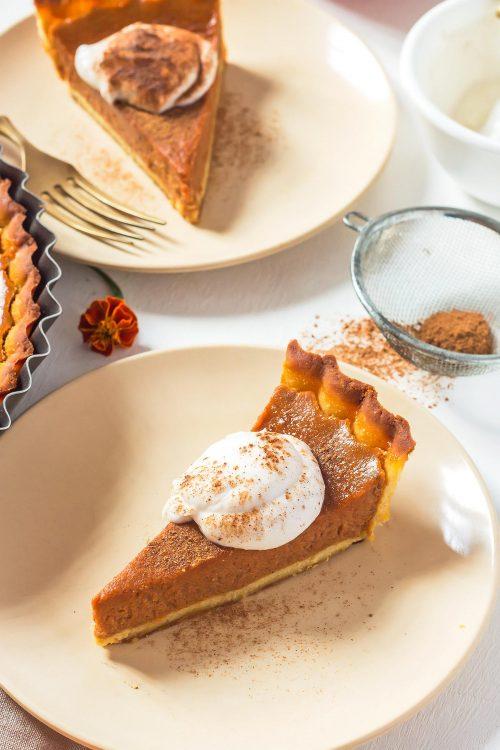 Dairy Free Pumpkin Pie Slices on plates