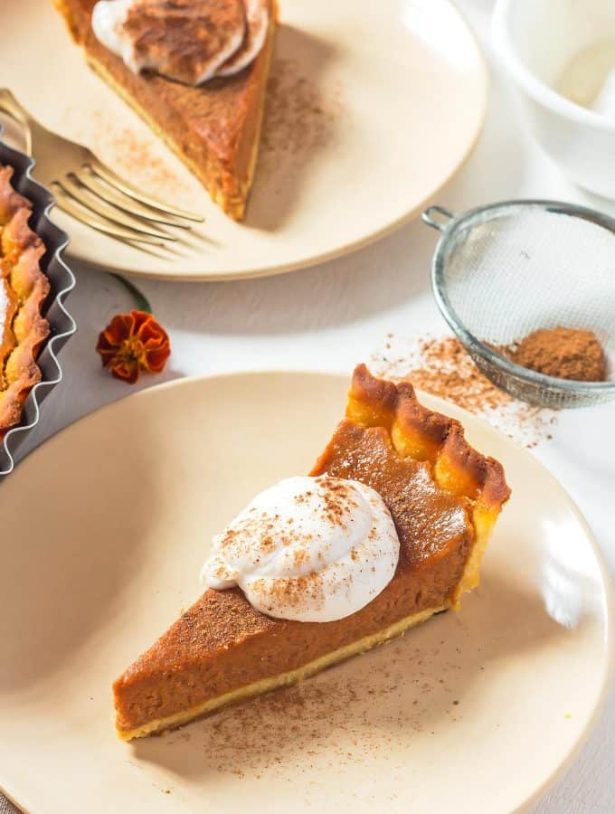 Dairy Free Pumpkin Pie Slices on plates