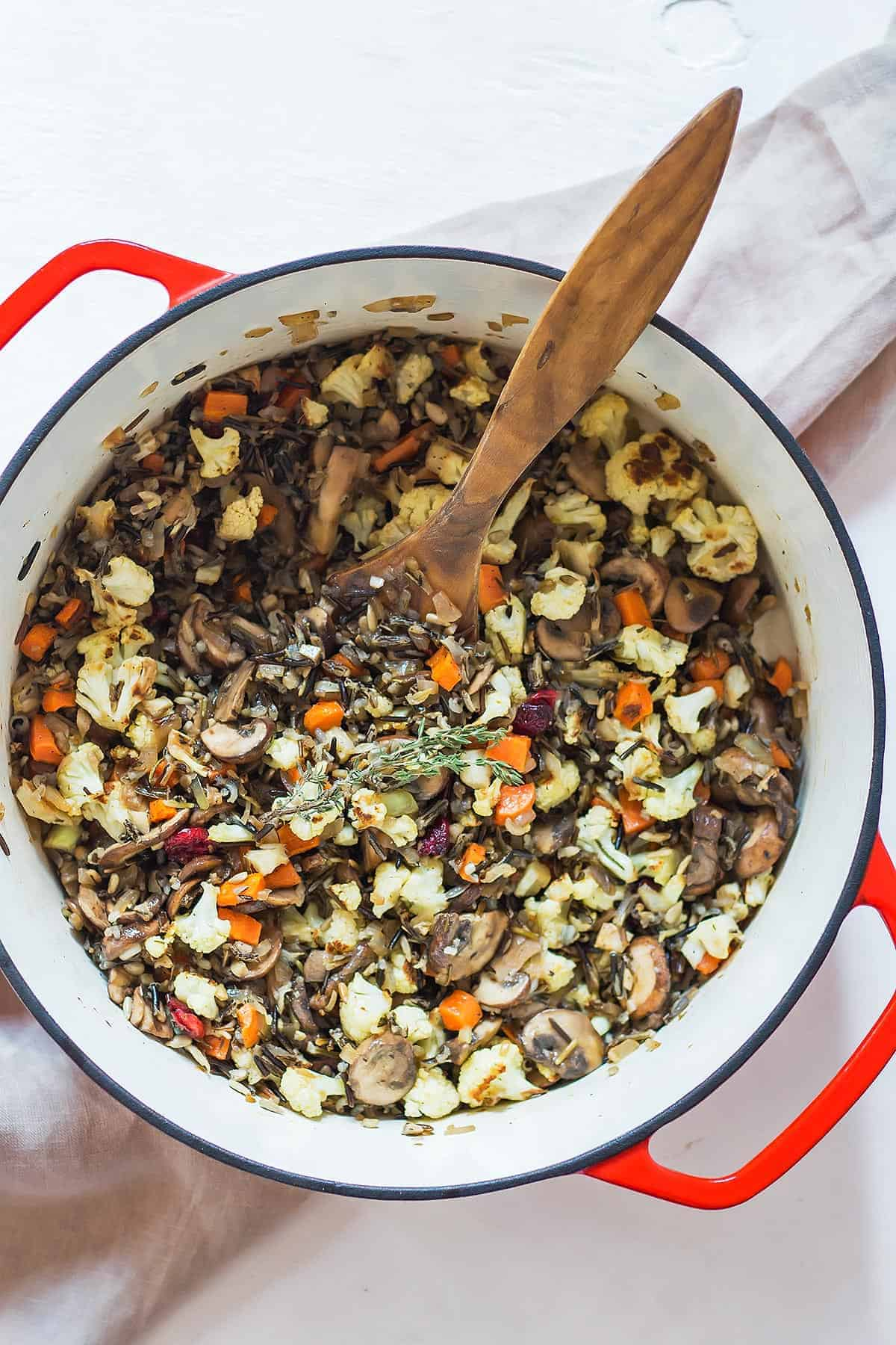 Breadless Gluten Free Stuffing in Dutch oven