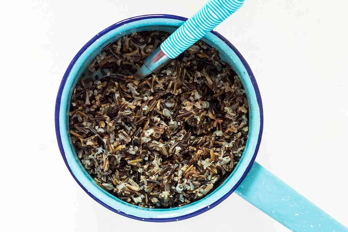 Cooked Wild Rice for Wild Rice stuffing in a saucepan
