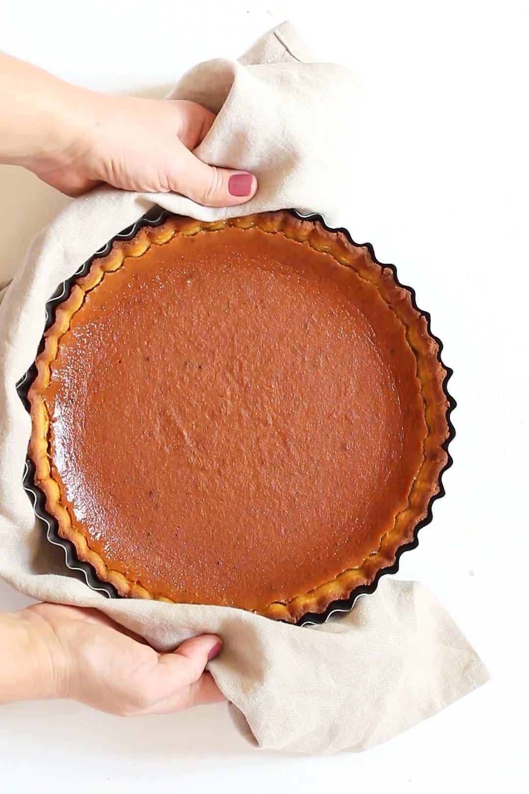 Holding Keto Pumpkin Pie