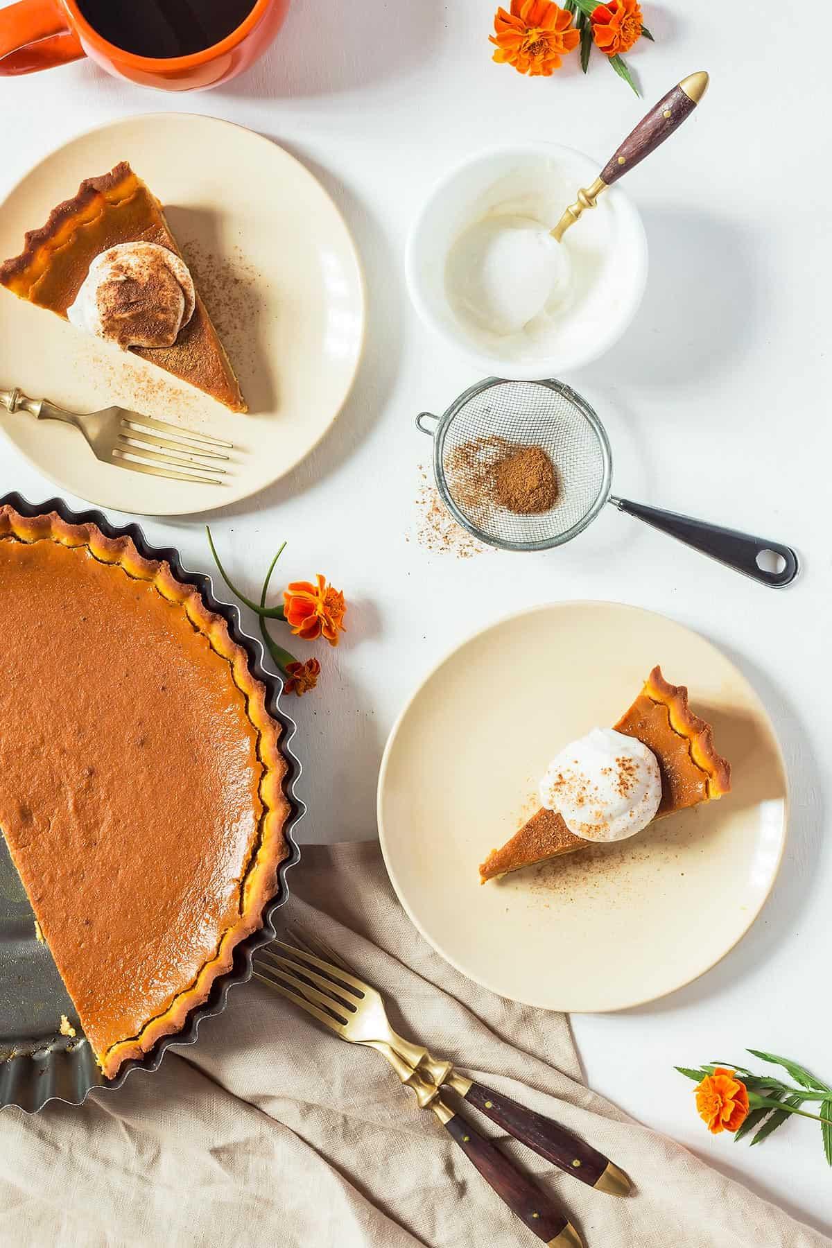 Plates of Low-carb Pumpkin Pie