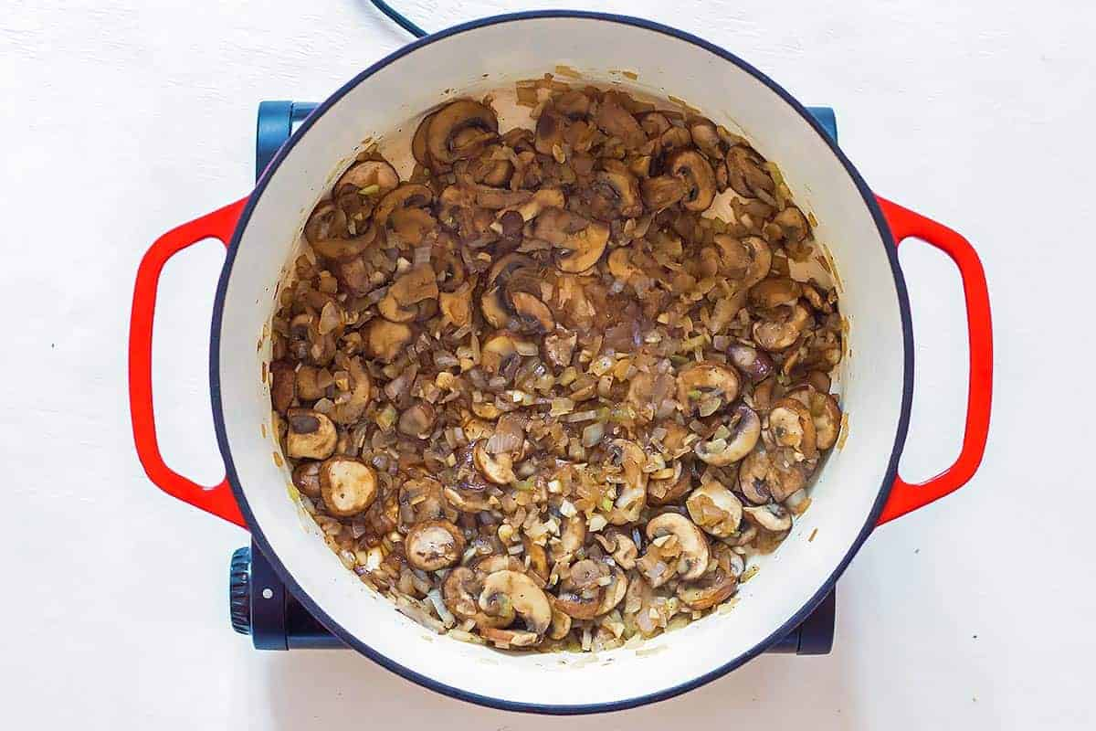 Sautéed Mushrooms in Dutch oven for mushroom stuffing