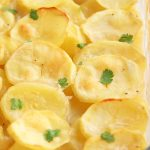 Close up of baked dairy free scalloped potatoes