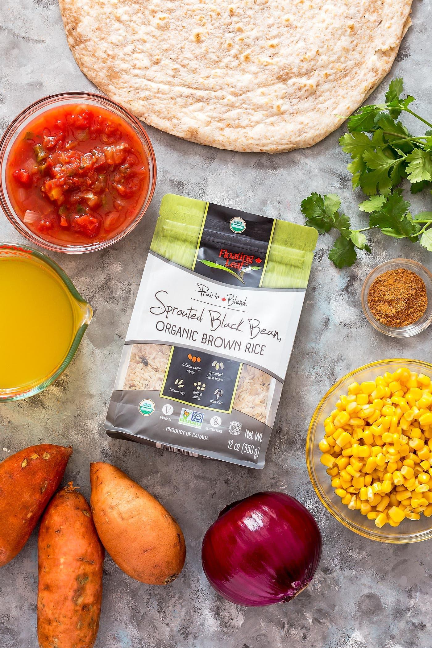 Spread of ingredients for vegan burritos