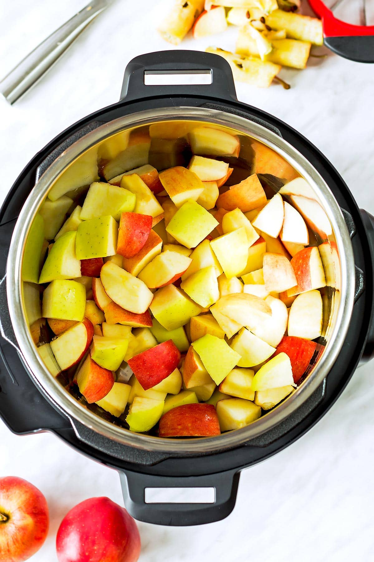 Apple chunks inside Instant Pot