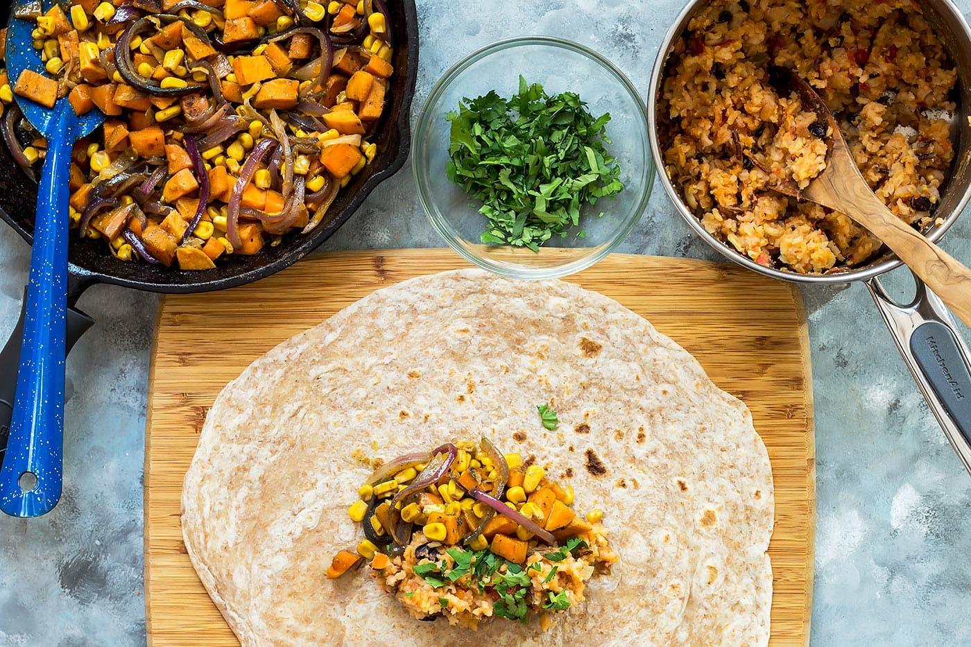 Assembling Vegan Burrito
