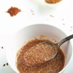 Congealed flax egg in bowl with spoon