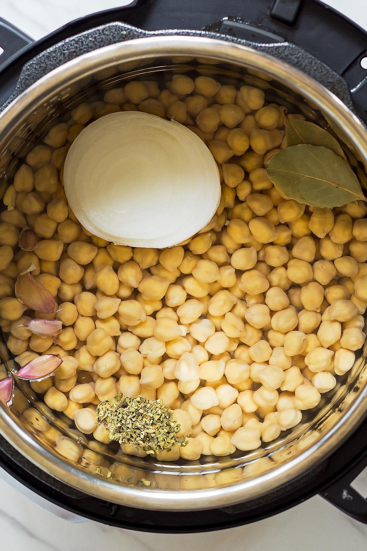 Chickpeas and seasonings in Instant Pot