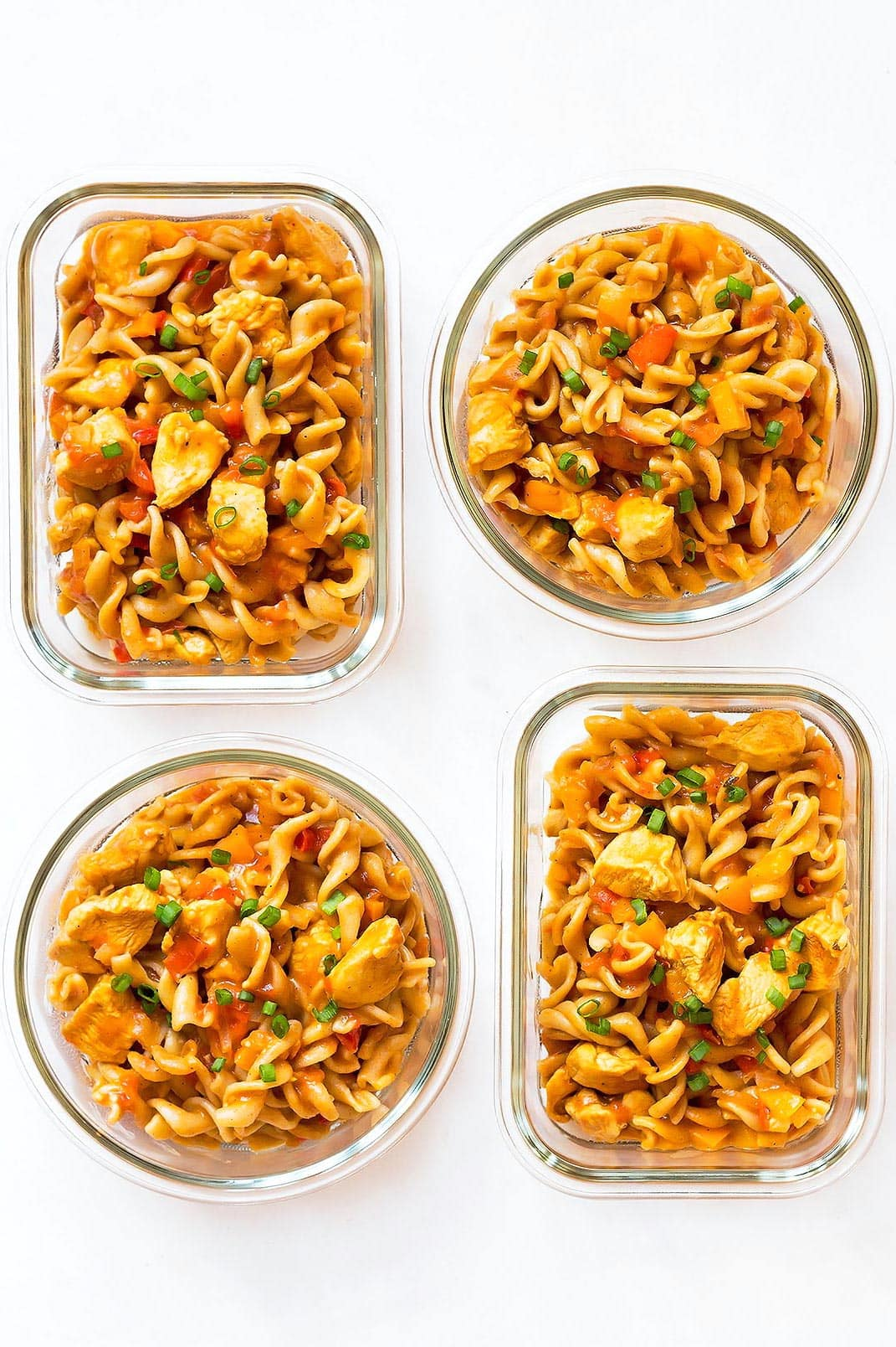 Cajun Chicken Pasta Meal prep containers