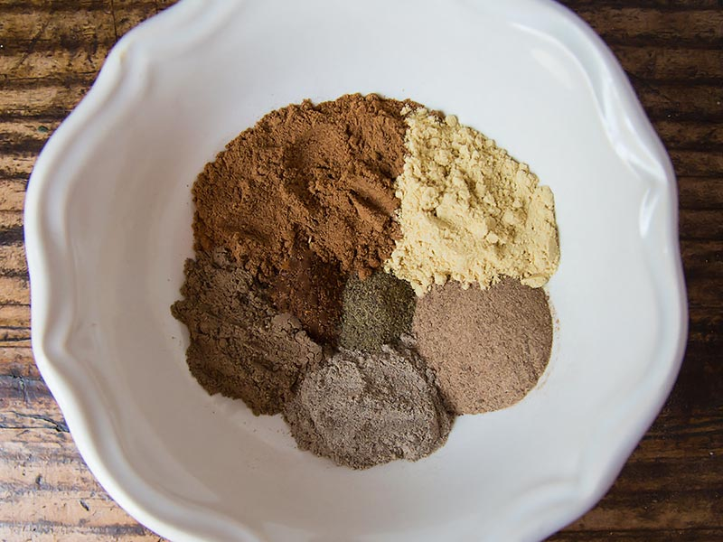Chai Spices measured into a bowl
