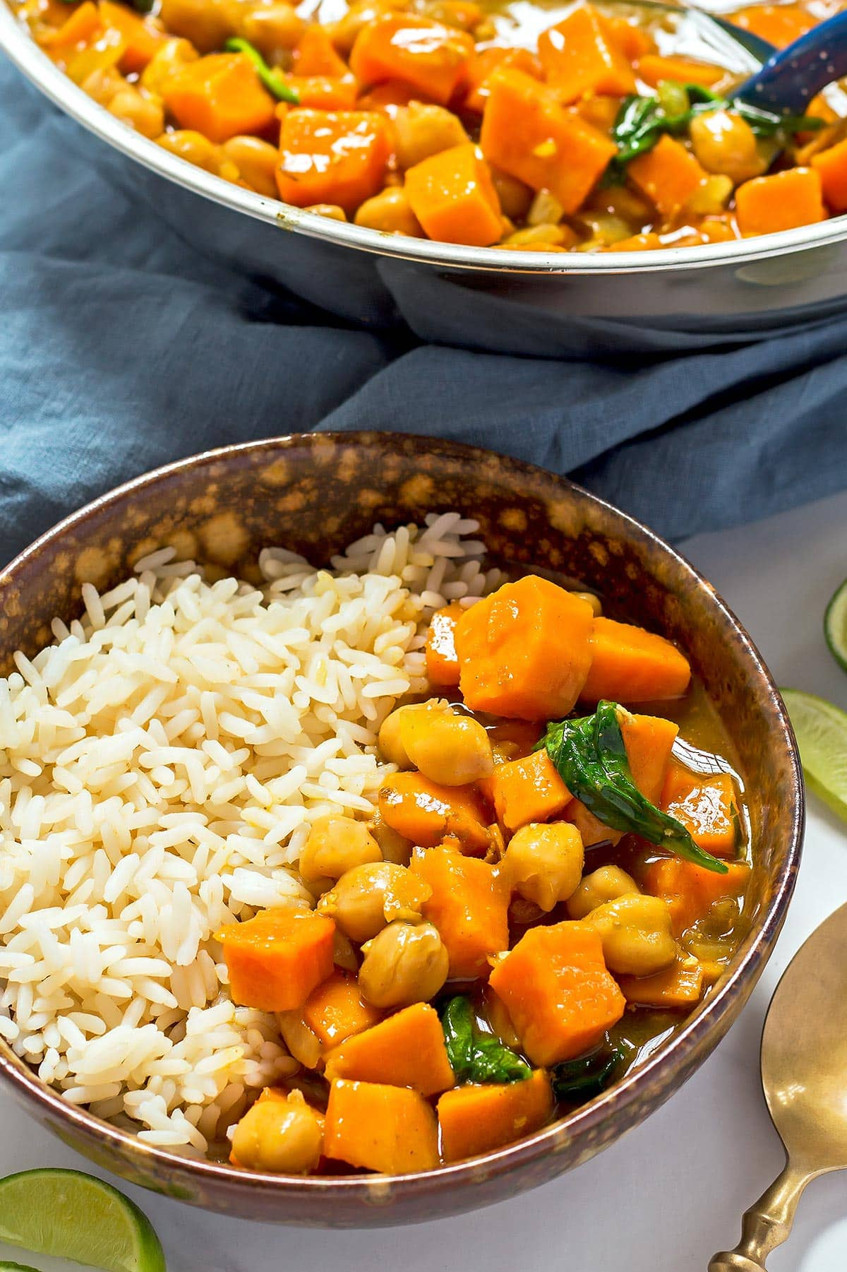 Bowl of Chickpea Curry with Rice
