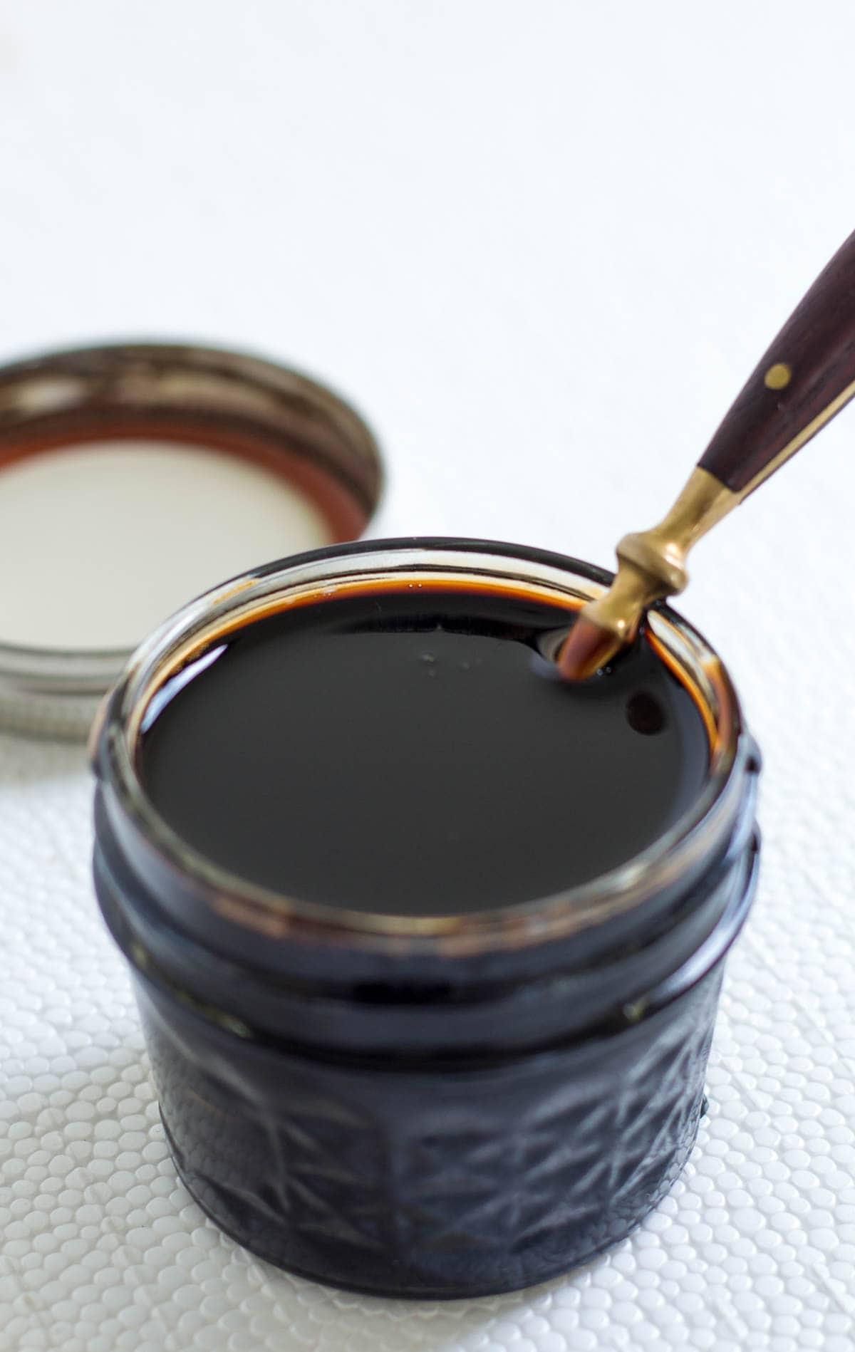 Jar of homemade easy balsamic reduction