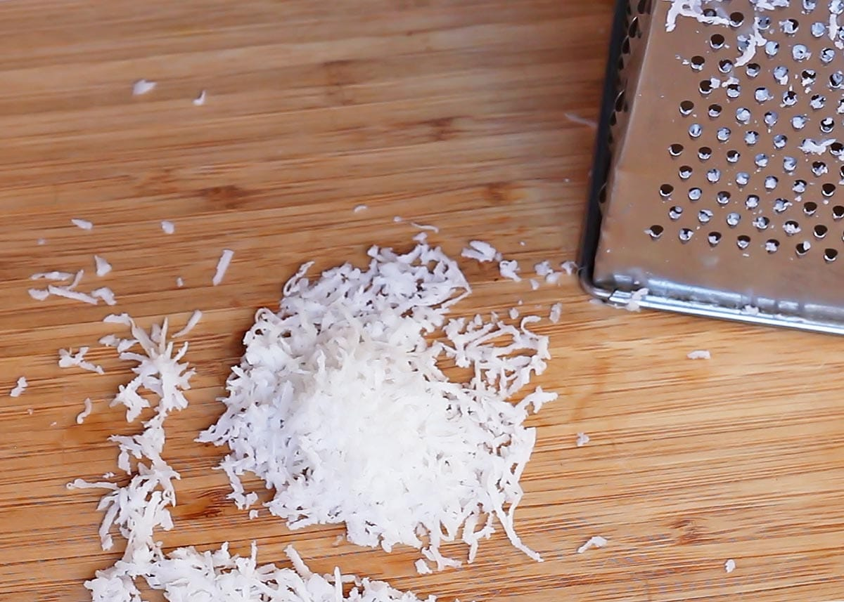 Fresh shredded coconut with box grater