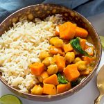 Chickpea Sweet Potato Spinach Curry with Rice