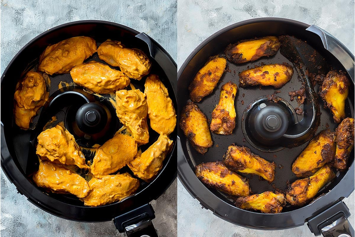 Marinated and cooked wings in Actifry