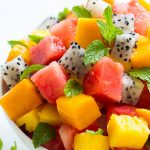 Tropical Fruit Salad Recipe cubed fruit in a bowl