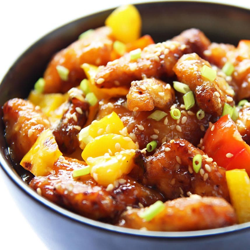 Easy Orange Chicken in a bowl